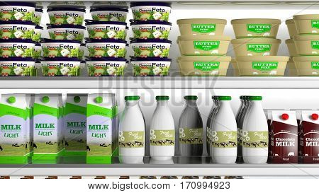 Supermarket refrigerator with various products. 3d illustration