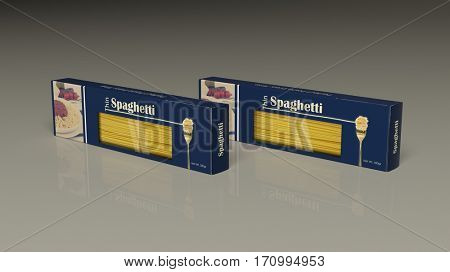 Spaghetti paper packages on colored background. 3d illustration
