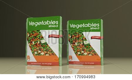Frozen Vegetables packets on colored background. 3d illustration