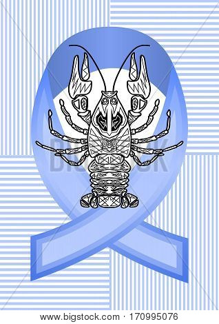 Anticancer man emblem with blue ribbon and monochrome cancer drawing, cancer awareness