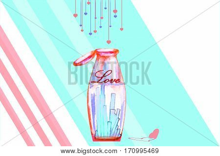 watercolor abstract bottle on blue background with hanging hearts