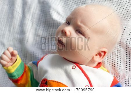 Cute little baby boy with albinism syndrome.