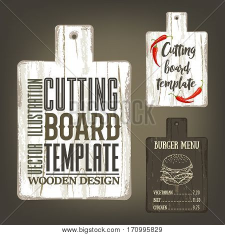 Hand drawn cutting board mockup with handle and usage examples. Vector illustration with textured rectangular plank used as template for label, logo, card, poster, advertising bar or pizzeria menu.