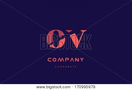 V O Ov Company Small Letter Logo Icon Design