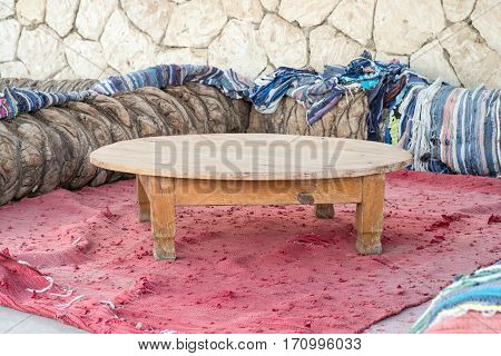 Bedouin tent background with table at the top