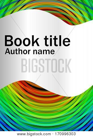 Book cover template with abstract rainbow circles and cambered paper strip