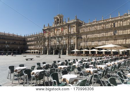 SALAMANCA, SPAIN - JULY 24, 2016: Salamanca (Castilla y Leon Spain): the historic Plaza Mayor the main square of the city