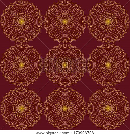 Abstract seamless pattern with gold rounds. Dark red background. Pattern mandala.