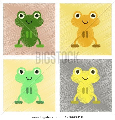 assembly flat shading style icons of Cute frog cartoon