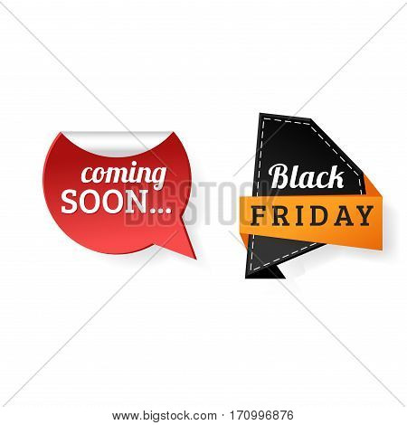 Sale badge stickers percent discount symbols vector illustration. Premium quality vintage coupon retail advertising element. Promotion ribbon shopping card black friday.