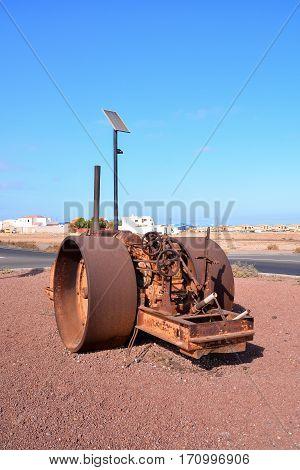 An Old Antique Steam Roller
