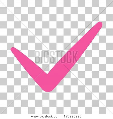 Valid icon. Vector illustration style is flat iconic symbol pink color transparent background. Designed for web and software interfaces.