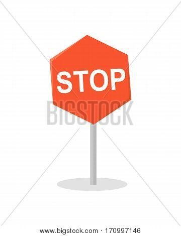 Stop road sign vector in flat design. Warning sign picture for traffic concepts, application icons, infographics design. Isolated on white background.