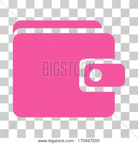 Wallet icon. Vector illustration style is flat iconic symbol pink color transparent background. Designed for web and software interfaces.