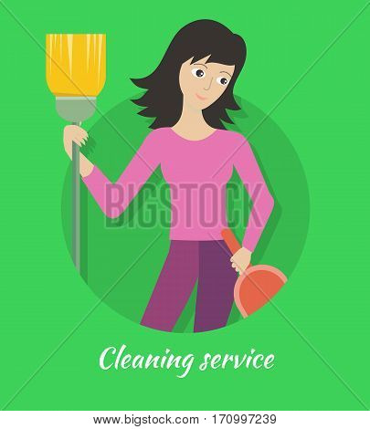 Cleaning service banner. Young woman with brush and dustpan. House cleaning service, professional office cleaning, home cleaning, domestic cleaning service. Website template.