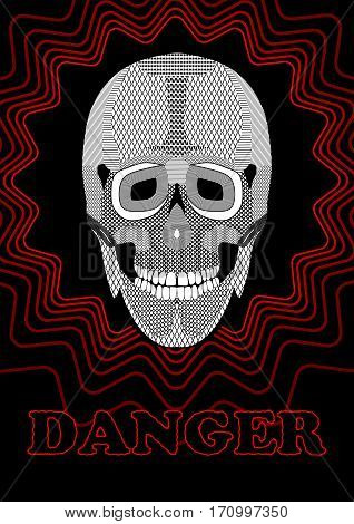 Danger placard with skull drawing. Black and white skull drawing on black background decorated with red line star shape. Vector hazard warning flyer.