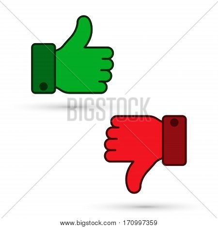 Thumb up thumb down icon green and red sillouettes. Vector evaluation symbol.