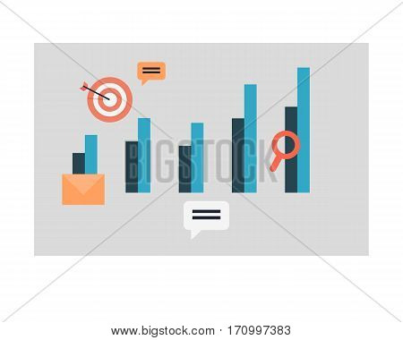 Business graph and chart icons. Set of elements for creation infographic design. Editable isolated symbols. Target hit, emailing, web graphics. Part of series of successful leadership. Vector