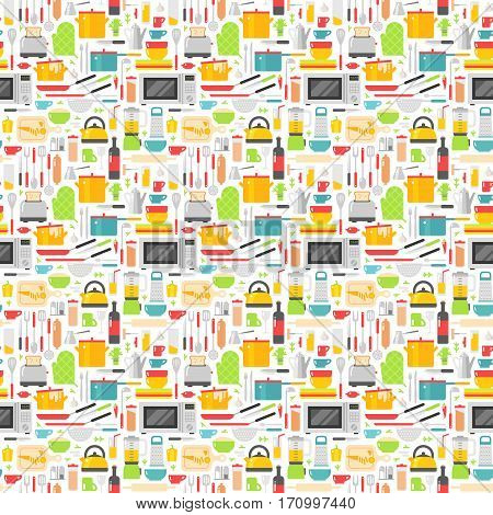 Kitchenware seamless pattern with kitchen tools. Cook accessories vector illustration. Knife vintage cup design household kitchen utensil background.