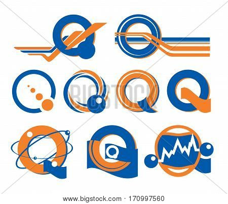 Q-shaped logo. Orange blue logotype with letter Q