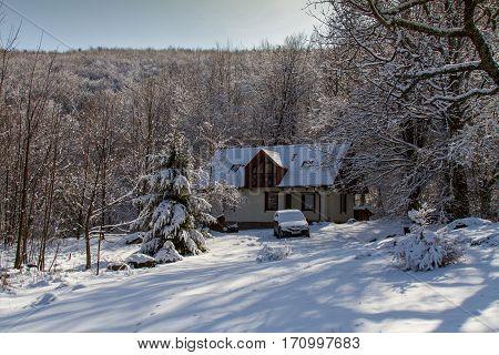 Snow house in Carpathians in the village of Cynyak near the town of Mukachevo Zarpattya region of Ukraine. March 2016
