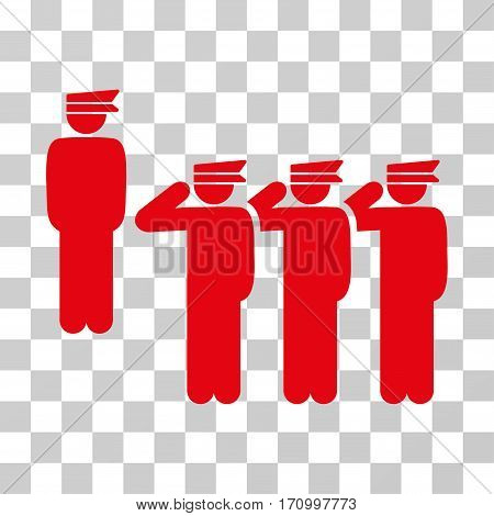 Army icon. Vector illustration style is flat iconic symbol red color transparent background. Designed for web and software interfaces.