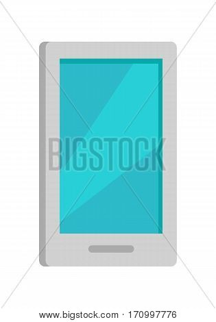 Mobile phone icon isolated on white. Cellphone communicator. Communication device. For mobile appliances, web design, buttons. Telephone or smartphone symbol. Flat style design. Vector illustration
