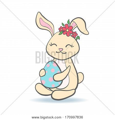 Cute Easter Bunny with egg and flower wreath for baby shower or easter card. Cartoon Rabbit isolated on white. Vector illustration