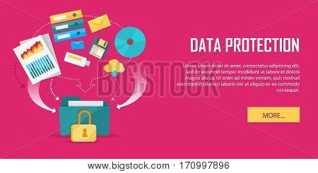 Data protection concept web banner. Flat style. Internet security. Folder secured by lock, documents with indexes, binders, e-mail, letters, cloud, discs icons. For cloud services, encryption app ad