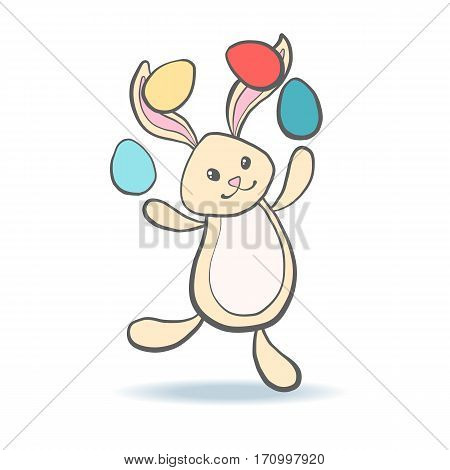 Cute Easter Bunny with eggs for baby shower or easter card. Cartoon Rabbit isolated on white. Vector illustration