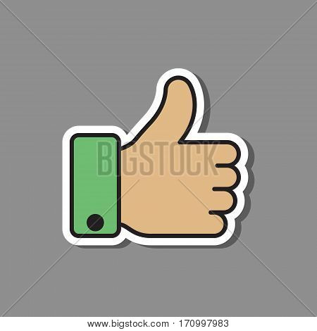 Thumb up like sticker cutout icon vector color symbol.