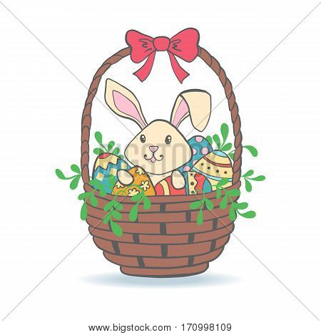 Cute Easter Bunny in basket with eggs for baby shower or easter card. Cartoon Rabbit isolated on white. Vector illustration