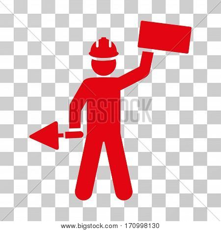 Builder With Brick icon. Vector illustration style is flat iconic symbol red color transparent background. Designed for web and software interfaces.