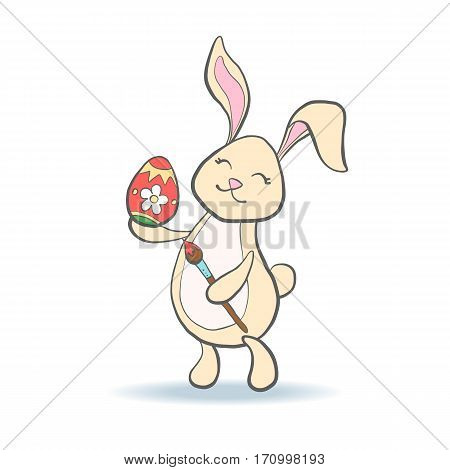 Cute Easter Bunny with colorful egg and brush for baby shower or easter card. Cartoon Rabbit isolated on white. Vector illustration