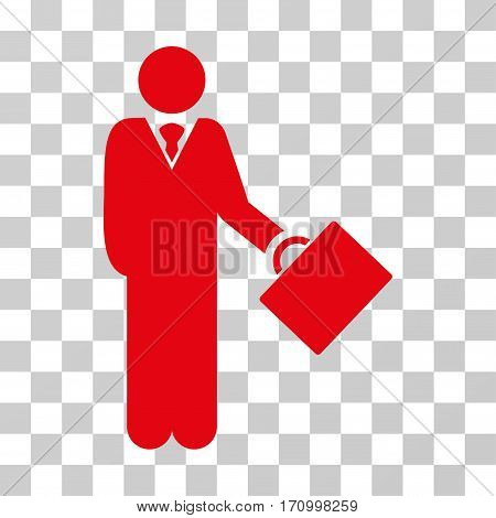 Businessman icon. Vector illustration style is flat iconic symbol red color transparent background. Designed for web and software interfaces.