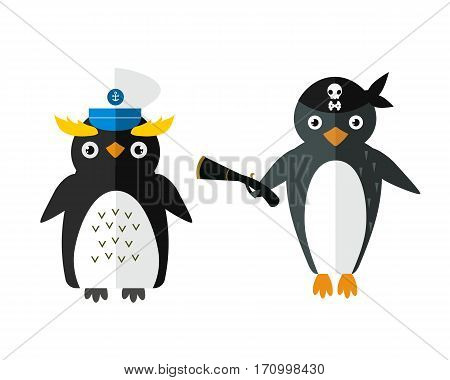 Penguin sailor pirate vector illustration character. Cartoon funny cute animal with headphones isolated. Antarctica polar beak pole winter bird. Funny outdoors wild life south arctic.