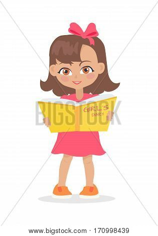 Girl reading girls diary book isolated on white. Adorable little girl has leisure time. School girl during break. Young lady at playground, playing, walking, writing secrets. Daily activity. Vector