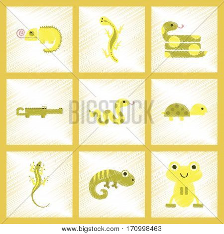 assembly flat shading style icons of exotic wild reptiles