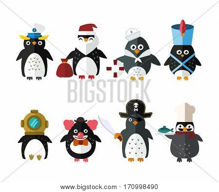 Penguin sailor santa vector illustration character. Cartoon funny cute animal with headphones isolated. Antarctica polar beak pole winter bird. Funny outdoors wild life south arctic.