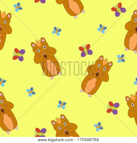 Seamless pattern with cute hamster eating nut with butterflies on yellow background.