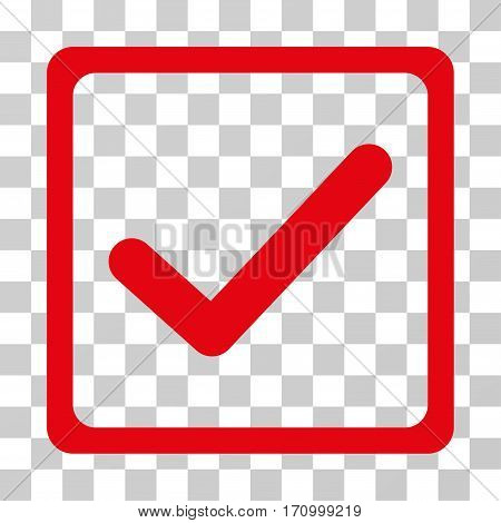 Checkbox icon. Vector illustration style is flat iconic symbol red color transparent background. Designed for web and software interfaces.