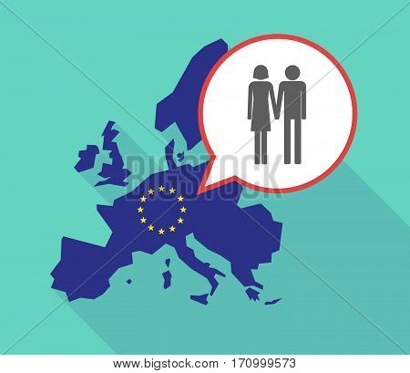 Long Shadow Eu Map With A Heterosexual Couple Pictogram
