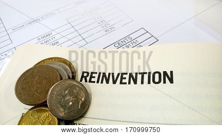 Reinvention Word On The Book With Balance Sheet