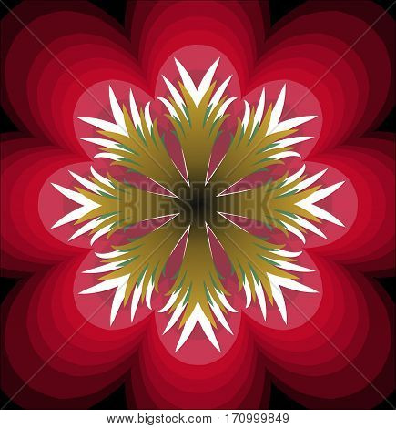 Plastic red fantasy flower with white pistil. Multilayered flower. Stylized red flourish shape. Symmetric flower abstract. Vector flower.