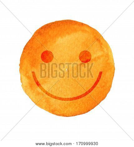 Smiling face painted with yellow watercolor. Yellow smile sign