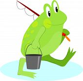 Green frog going fishing with bucket and rod poster