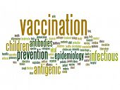 Concept or conceptual children vaccination or viral prevention abstract word cloud isolated on background metaphor to infectious antigenic, antibodies, epidemiology immunization or inoculation poster