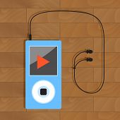 Mp3 player with headphone. Earphone and electronic audio device. Vector illustration poster