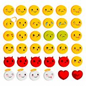 Emotional faces smiles big set. Vector illustration smile icon. Face emoji yellow icon. Smile cute funny emotion face on transparent background. Happy feelings, expression for message, sms. poster