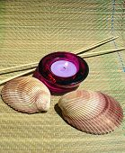 simple composition with candle and seashells like aromatherapy and meditation poster